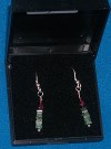 Emerald and Garnet column earrings