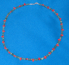 Emerald and Red Coral necklace finished with Sterling Silver